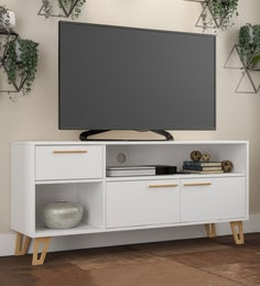 Hokuo TV Unit In White U0026 Pine Finish