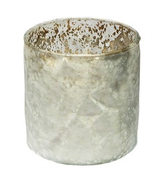 Home Artisan White Glass Cylindrical Candle Holder
