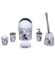 Home Belle Purple Abs Plastic Bathroom Accessories Set Of 6