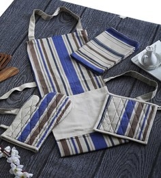 Home Boutique Blue&White Print Aprons Set With Gloves,Pot Holder,Kitchen Towel Set Of 6