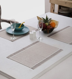 Home Boutique Brown & White Striped Table Mats Set Of 4