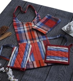 Home Boutique Striped Print Aprons Set With Gloves,Pot Holder,Kitchen Towel Set Of 6