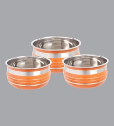 Home Creations Stainless Steel Orange Handis (1000 ML,600 ML & 400 ML) - Set Of 3
