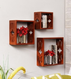 Carved Cubes Wall Shelf Set Of 3 In Brown Finish