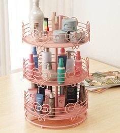 Home Sparkle Mild Steel Pink Rotating Makeup Organiser - 1618937