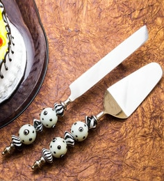 Homesake India White Stainless Steel 2-piece Cake Server Set