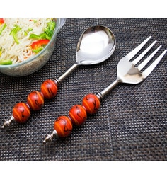 Homesake India Orange Stainless Steel 2-piece Noodle Server Set