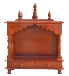Solid Wood Hand Made Pooja Mandir In Honey Finish