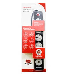 Honeywell Black 15.4 X 2.4 X 1.2 Inch 5 Out Surge Protector With 2 USB Port
