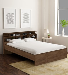 Honshu King Size Bed With Headboard Storage In Coffee Finish