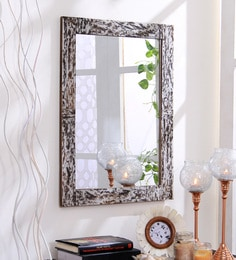Hosley Brown Resin & MDF Decorative Marble Design Wall Mirror at pepperfry