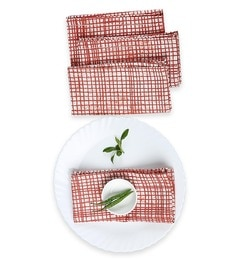 House This The Textured Checks Red Cotton Placemats - Set Of 4
