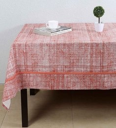 House This The Textured Checks Red Cotton Table Cover