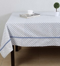 House This The Twisted Leheriya Blue Cotton Table Cover - 1649341