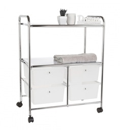Howards Storage World Frosted Chrome 4 Drawer With 2 Shelf Trolley