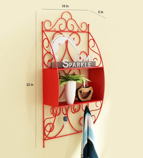 Buy Metallic Decorative Wall Shelf With Hooks In Red Colour By Home