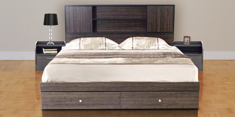 Hoshi Queen Size Bed with Front Storage in Walnut Finish by Mintwud