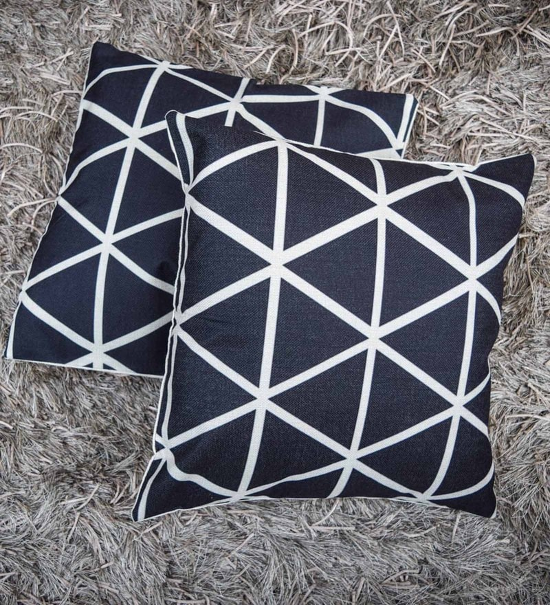 Home Artisan Black Cotton Linen Blend 18 x 18 Inch Rigsby Triangle Pattern Cushion Cover