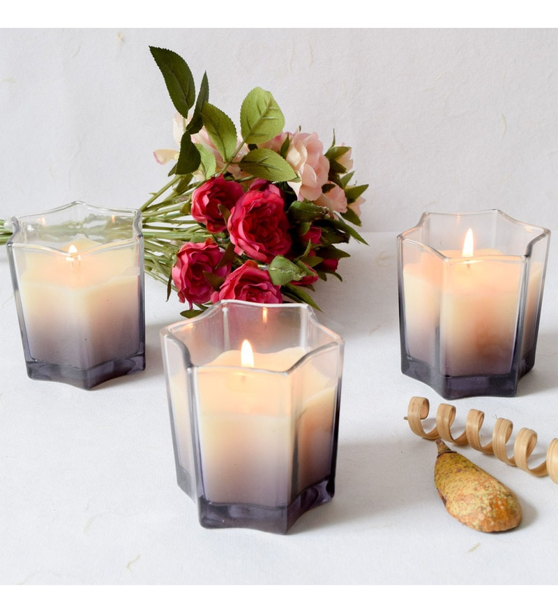 Grey Glass & Wax Starburst Smoky Glass Candles - Set of 3 by Home Artisan