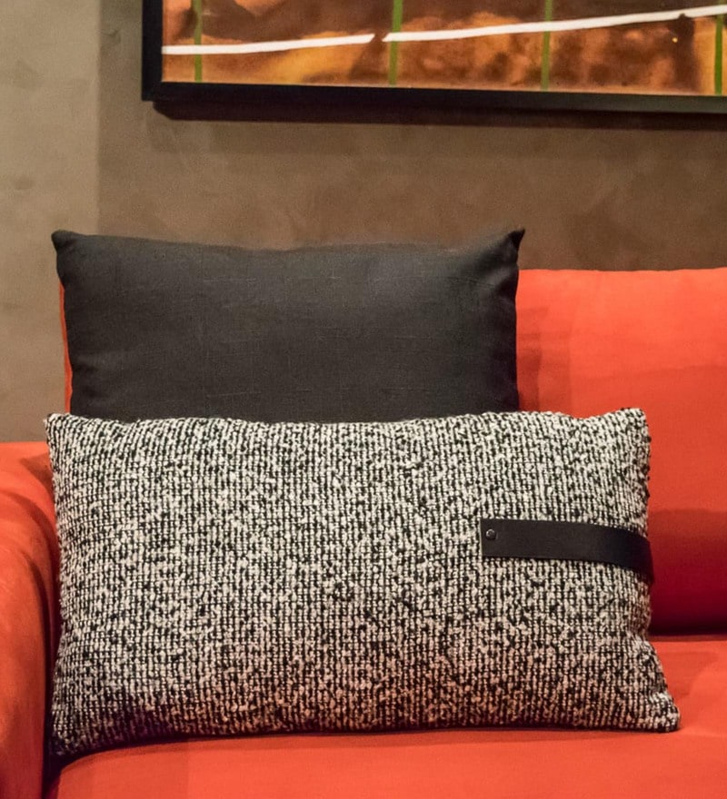Home Artisan Grey Knit Fabric 20 x 12 Inch Patterned Cushion with Filler