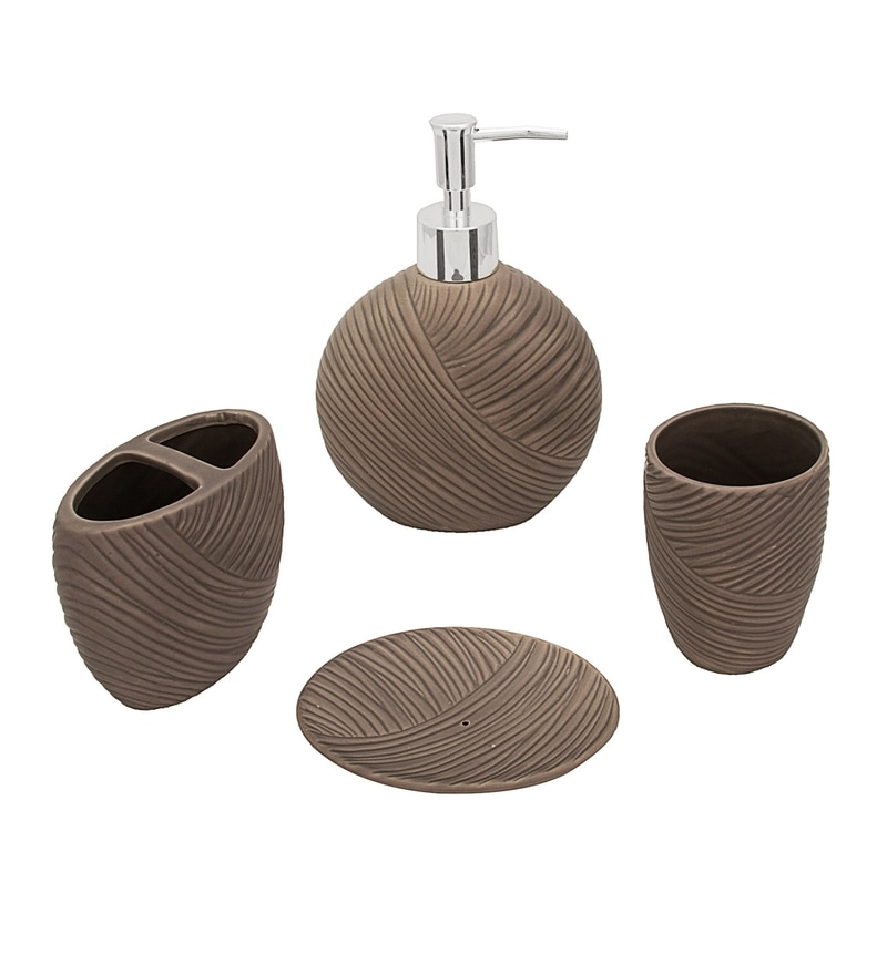 Home Belle Grey Ceramic Bathroom Accessories - Set of 4