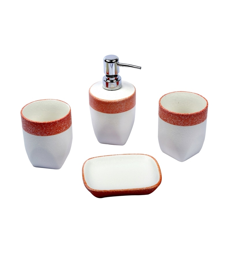 Home Belle Pink Ceramic Bathroom Accessories - Set of 4