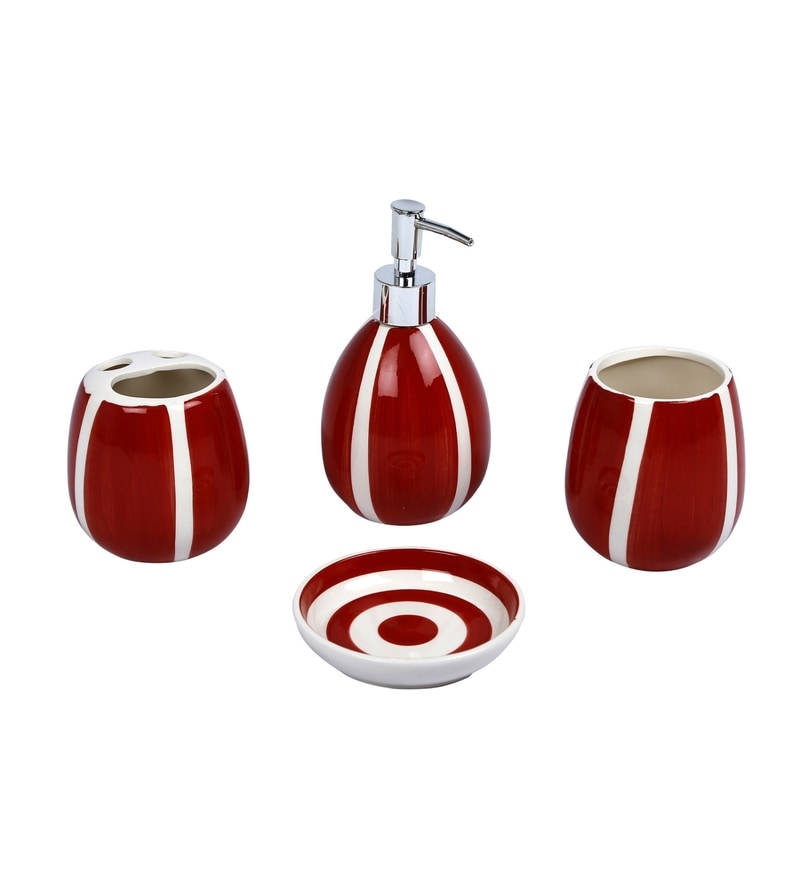 Home Belle Red Ceramic Bathroom Accessories - Set of 4