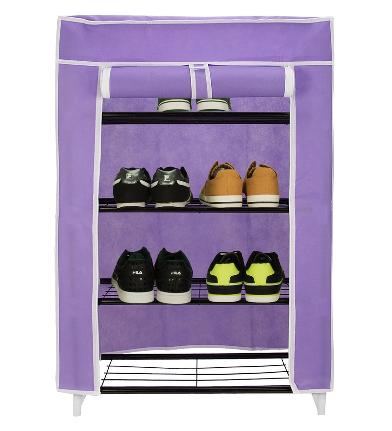 Home Creation Collapsible Purple Metal Storage Cabinet & Shoe Rack Wardrobe