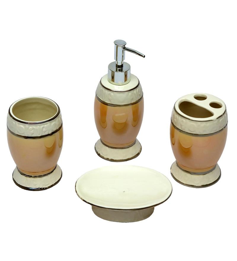 Home Creation Cream Ceramic Accessories Set - Set of 4 (Model: Bathset-127-Cream)