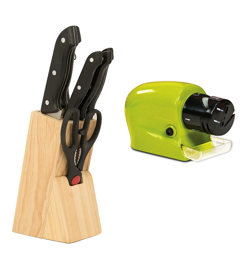 Home Creation Wood Block Knives & Knife Sharpner - Set of 9