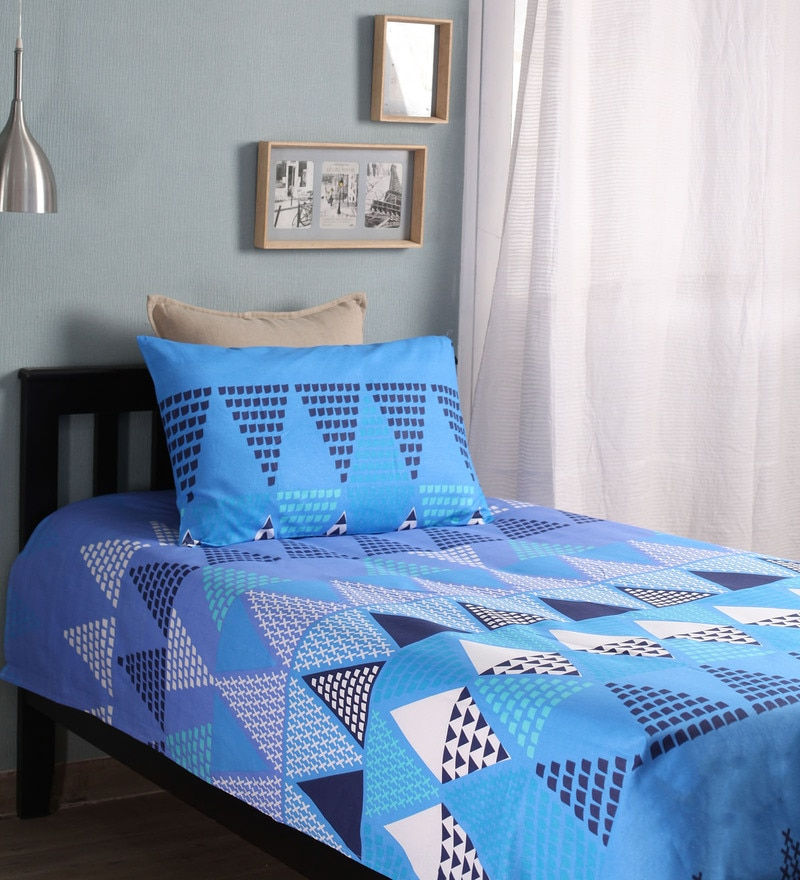 Blue Cotton Single Size Bed Sheet - Set of 2 by Home Ecstasy
