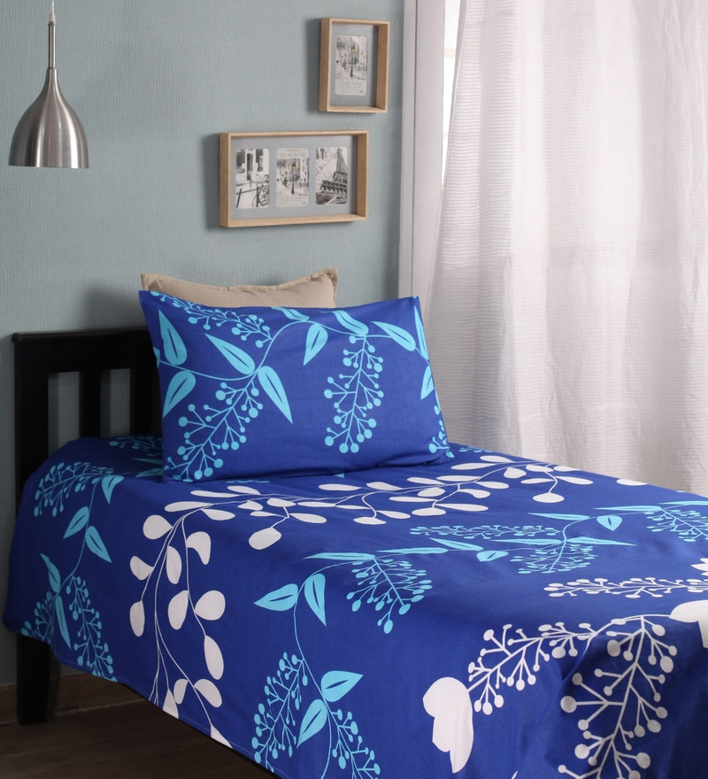 Blue Cotton Single Size Bed Sheet by Home Ecstasy