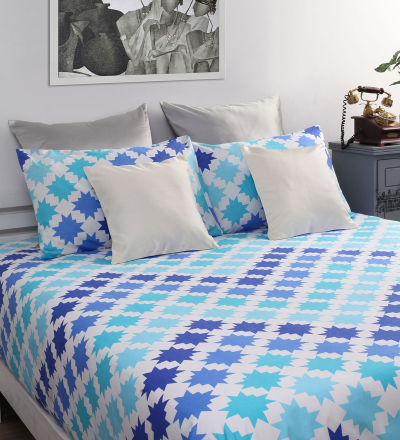 Blue Cotton Geometric Printed Double Bed Sheet with 2 Pillow Covers-Set of 3 by Home Ecstasy