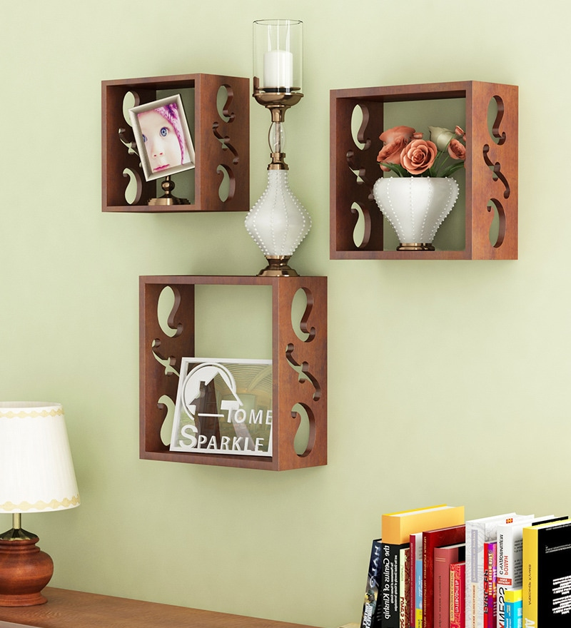 Brown Engineered Wood Durable Shelf   Set Of 3 By Home Sparkle