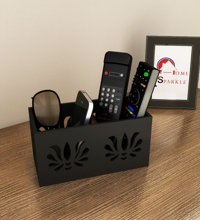 Black Engineered Wood Compact Designed Remote Cum Mobile Holder by Home Sparkle