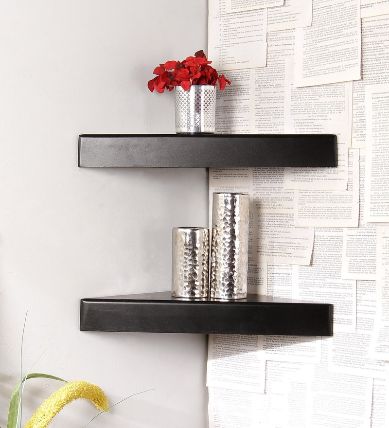 Black Engineered Wood Corner Shelves - Set of 2 by Home Sparkle