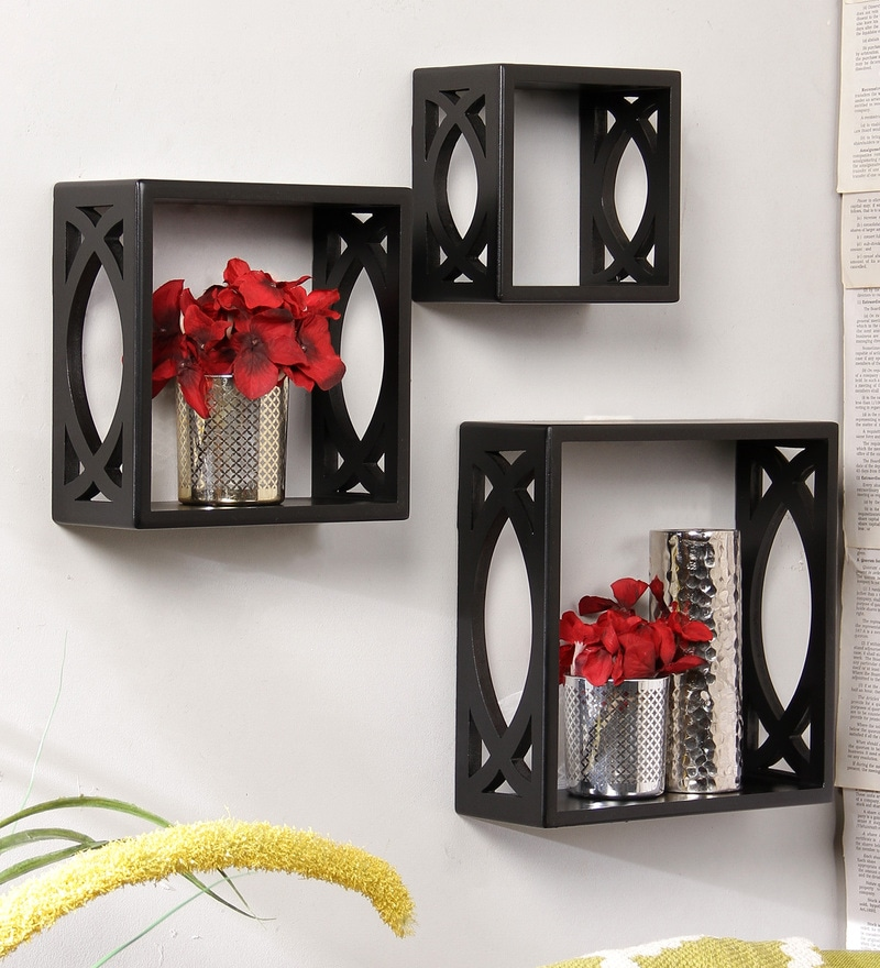 Gandharvas Eclectic Wall Shelves Set of 3 in Black by Bohemiana
