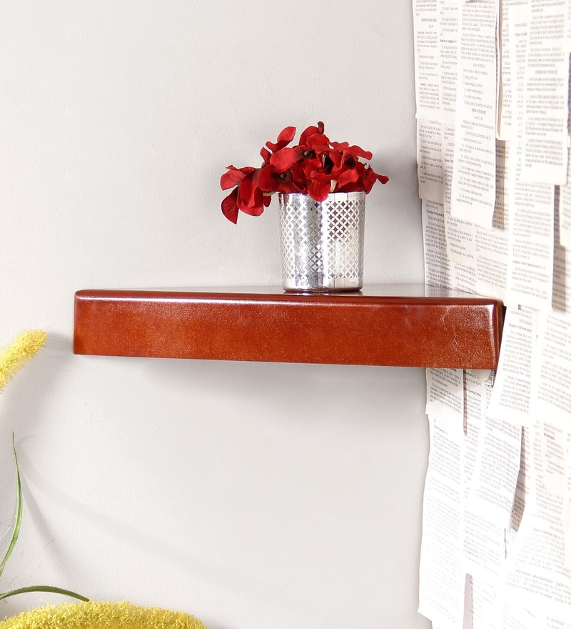 Brown Engineered Wood Corner Wall Shelf by Home Sparkle