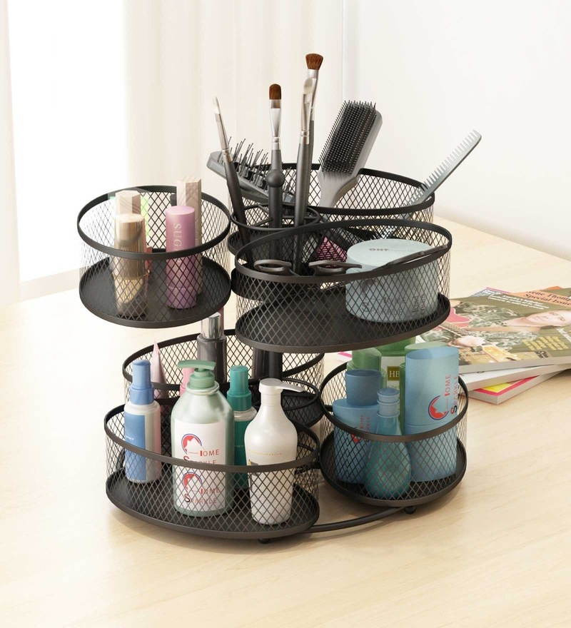 Home Sparkle Mild Steel Black Rotating Makeup Organiser