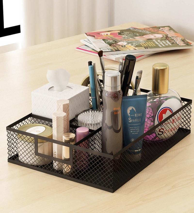 Home Sparkle Mild Steel Black Table Top Makeup Organiser