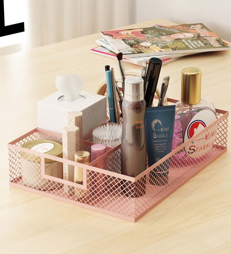 Home Sparkle Mild Steel Pink Table Top Makeup Organiser