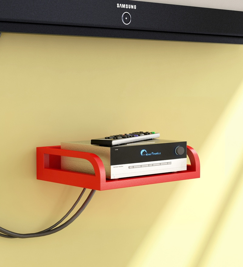 Red Engineered Wood Set Top Box Holder by Home Sparkle