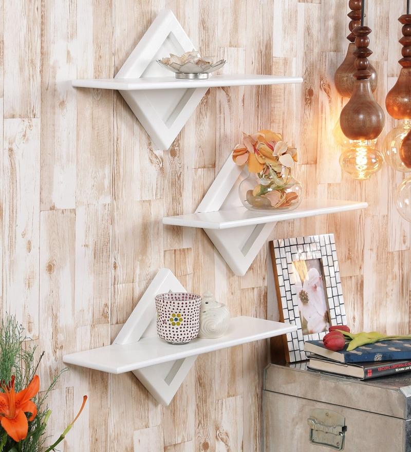 White Engineered Wood Shelves - Set of 3 by AYMH