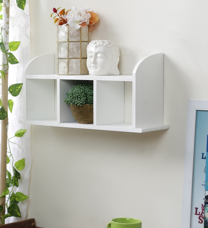 White Engineered Wood Straight Wall Shelf by Home Sparkle