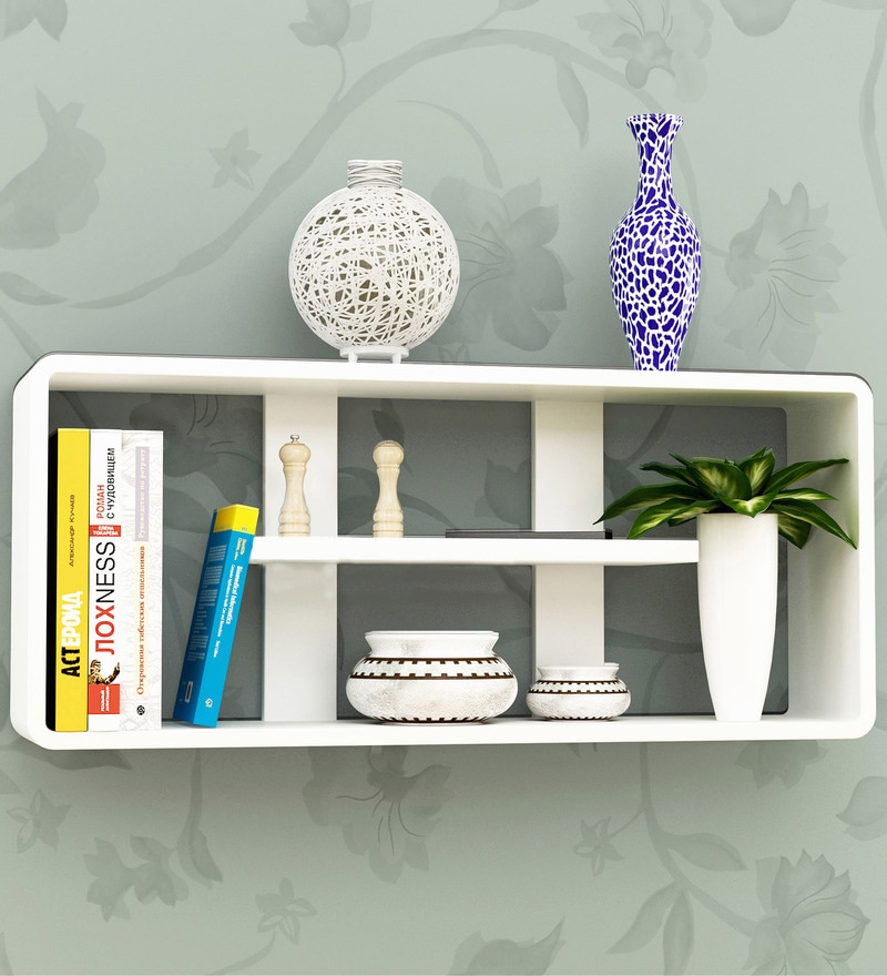 White Mango Wood Rectangular Wall Shelf by AYMH