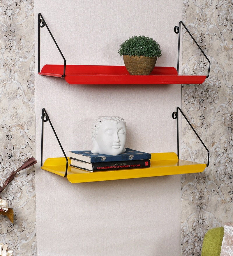 Home Sparkle Yellow & Red Mild Steel Wall Racks - Set of 2