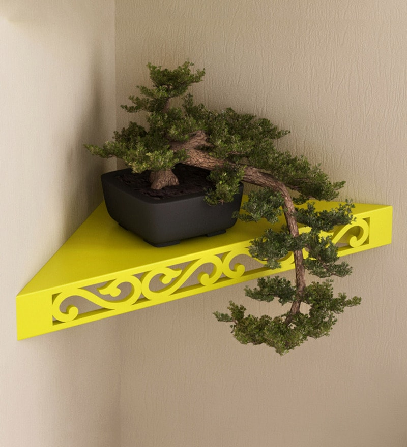 Yellow Engineered Wood Corner Wall Shelf by AYMH