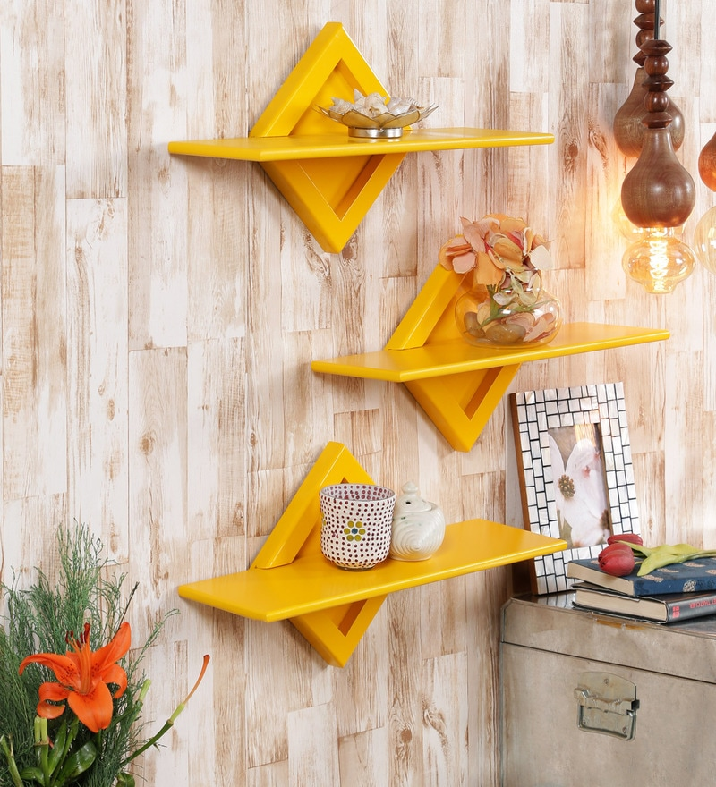 Yellow Engineered Wood Shelves - Set of 3 by AYMH