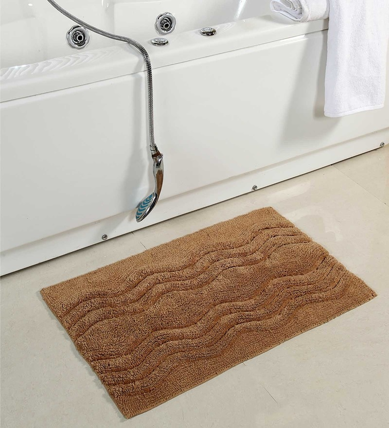 Homefurry Beige Hexa Wave 20 X 32 Inch Cotton Bath Mat