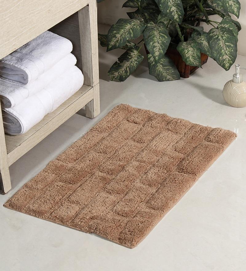Beige Cotton 24 x 16 Bath Mat by HomeFurry